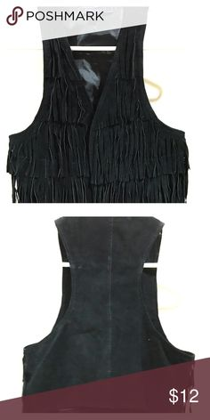 Black fringe vest Get into the country vibes with this black suede vest. Good condition.  Great for boho country look or a costume party. Forever 21 Jackets & Coats Vests