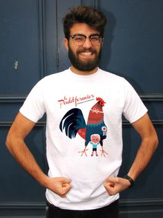 """ le Poulet Fermier"" T-Shirt Original Made in France de Annette Marnat from…"