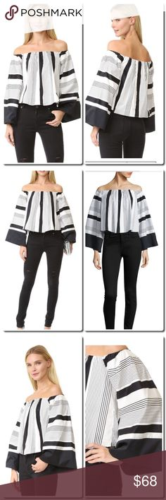 "KENDALL + KYLIE Jet Set Tokyo OffThe-Shoulder Top Graceful stripes elevate this off-the-shoulder top Off-the-shoulder neckline Bell sleeves Cropped hem Pullover style Lined About 23"" from shoulder to hem Cotton Machine wash Imported Kendall & Kylie Tops Blouses"