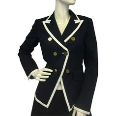 Pre-owned Tory Burch Sailing In Blue Sz 8 115.00 Blazer ($120) ❤ liked on Polyvore featuring outerwear, jackets, blazers, none, cotton jacket, tory burch jacket, gold button blazer, tory burch blazer and cotton blazer