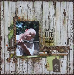 "Kaisercraft 'Botanica' collection masculine layout ""Live the Life you have Imagined"" by Kirsten Hyde - Wendy Schultz ~ Scrapbook Pages Vintage Scrapbook, Travel Scrapbook, Scrapbook Pages, Paper Leaves, Specialty Paper, Photo Memories, How To Show Love, Layout Inspiration, Paper Background"