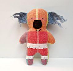 Koala Soft Toy  Handmade Softie  Wool  Upcycled  by WinterOwls, $40.00