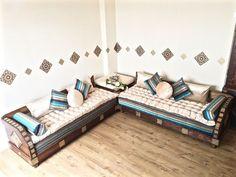 Faux Leather Sofa, Leather Corner Sofa, Moroccan Furniture, Moroccan Decor, Sofa Bench, Lounge Sofa, Corner Sofa Design, Diy Sofa, Furniture Design