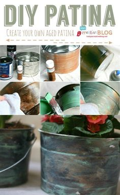 DIY Faux Patina | Create your own aged patina with craft paint. Add a water proofing sealer for outdoor use.  | See more creative ideas on TodaysCreativeblog.net