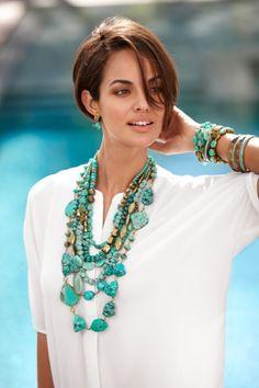 My Jewelry Fashion: & # & # Our Fashion Stone TURQUOISE & # & # Turkish stone … - new season bijouterie Boho Mode, Mode Hippie, Turquoise Jewelry, Boho Jewelry, Beaded Jewelry, Chicos Jewelry, Jewelry Trends, Turquoise Necklace Outfit, Turquoise Accessories