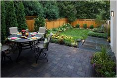 Garden, Good Looking Patio Design With Small Backyard Landscaping Ideas And  Round Dining Table Also Black Chair Sets: Cool Landscaping Ideas For Small  ...