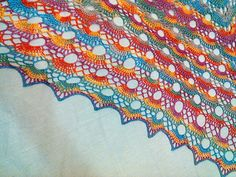 It's difficult to get a photo that would show true colors, it's just spectacularly… colorful! True Colors, Knits, Ravelry, Blanket, Knitting, Crochet, Shawl, Tricot, Breien