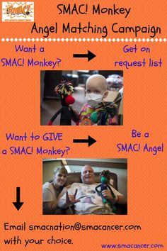 Want a SMAC! monkey? Want to GIVE a SMAC! monkey? Email smacnation@smacancer.com with your choice. Let the matching begin!!  #beatcancer #SMACancer #cancer