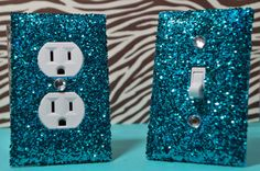 Chunky TEAL Glitter Swichplate Outlet Covers
