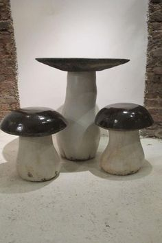 Contemporary Mushroom Ceramic Garden Table and Stools by G. Dooley