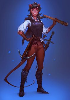 f Tiefling Rogue Thief Merchant Ship Captain Leather Armor Sword Crossbow Spyglass underwater Adventurer By BoissB B.J ImaginaryCharacters twin lg Fantasy Character Design, Character Creation, Character Design Inspiration, Character Concept, Character Art, Character Ideas, Tiefling Female, Tiefling Rogue, Tiefling Bard