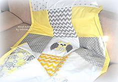 Úžitkový textil - Prehoz Šedo-žtlé Sovičky 120x205cm - 7989409_
