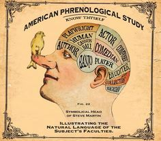 """Amusing Illustration from the American Phrenological Study: """"Symbolical Head of Steve Martin"""""""