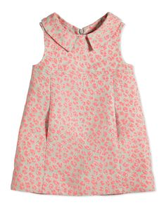 Sleeveless Animal Jacquard Poplin Dress, Pink, Size 2-6