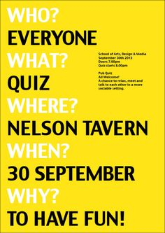 Pub quiz poster, simple but you know what it is about!