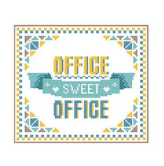 Modern Cross Stitch Pattern OFFICE Sweet OFFICE bright, warm and welcoming Yellow Blue brown shades Modern Geometric wall art Gift