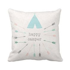 Pillow Cover Happy Camper Tribal Arrows by JolieMarche on Etsy