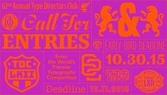 The 62nd Annual Type Directors Club Competition call for entries is official open! Enter by October 30th, 2015 to benefit from our Early Bird registration discounts! #tdc #TDC62 #competitions #typography #typefacedesign #communicationdesign