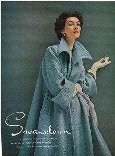 Dovima in Swansdown ad Harper's Bazaar, February 1952