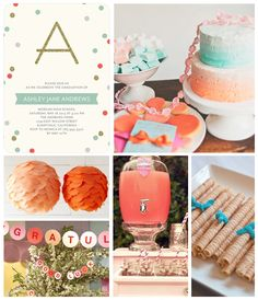 Tiny Prints Graduation Party Inspiration Board: This sweet and simple party invitation inspired the theme for our graduation board today. Soft mint and shades of coral are perfect for a summer celebration.