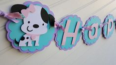Girl's Puppy banner, Dog banner, purple and aqua banner, Happy Birthday banner by SweetBugABoo on Etsy https://www.etsy.com/listing/464772337/girls-puppy-banner-dog-banner-purple-and