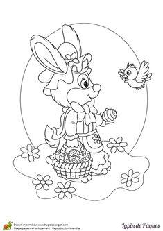 Coloriage de Madame Lapin qui cherche des œufs de Pâques - Hugolescargot.com