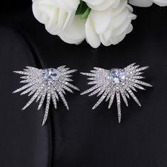 Half Starburst Silver & Cubic Zirconia Bridal Earrings