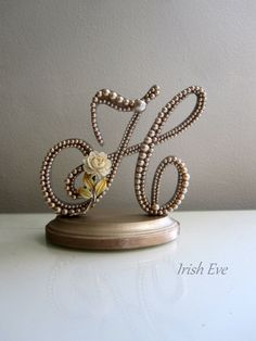 "Wedding Cake Topper ""Made to Order"" in Champagne Pearl: Letter H Rustic Weddings on Etsy, $75.99"