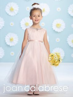 Joan Calabrese For Mon Cheri 116365 - Sleeveless satin and tulle tea-length A-line dress, hand-beaded modified bateau neckline, center gathered tulle overlay satin bodice, satin tie back sash, back covered buttons, gathered tulle overlay skirt. #JoanCalabrese #MonCheri #flowergirl #AtlasBridal