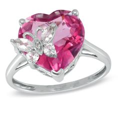 Heart-Shaped Pink Topaz, White Topaz, and Diamond Accent Ring in White Gold - Peoples Jewellers Gemstone Jewelry, Diamond Jewelry, Gold Jewelry, Jewelry Box, Fine Jewelry, Pink Topaz, White Topaz, White Gold, Peoples Jewellers