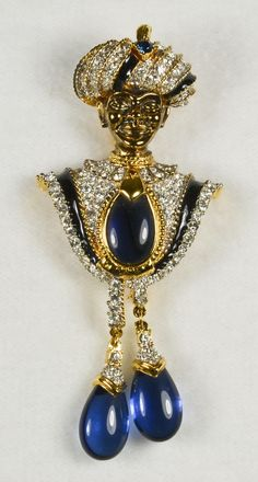 Vintage D'Orlan Jeweled Rhinestone Blackamoor Brooch Pin from vermeercollectibles on Ruby Lane