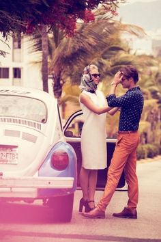 couple by the old fashion car
