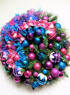 """This wreath is so fun, especially for a modern house/apartment or teen's room! Custom Designed Christmas Wreath (X-LARGE Approx 27"""" x 9"""" Deep). FOR SALE ON ETSY"""
