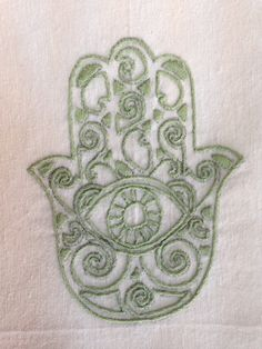 close up detail, hand-embroidered green hamsa, flour sack dish towel 45 TL, 15 euro Hamsa Hand, Dish Towels, Cushion Covers, Euro, Hands, Detail, Green, Fabric, Tejido