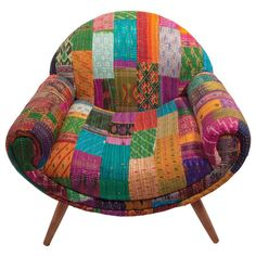 Add a bold splash of colour and pattern to your home with this kantha print armchair, a great addition to your cosy reading nook or in the children's playr...