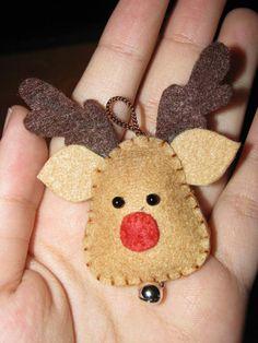 felt reindeer head with little bell for 2014 Christmas - handmade Christmas craft