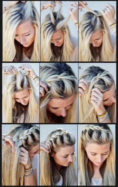 Fun braid, keeps the hair off the face in the summer