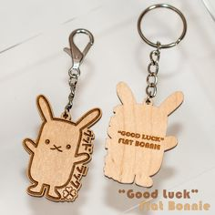 Laser cut and engraved. Wooden Key Holder, Lucky Rabbit, Good Luck, Key Rings, Christmas Gifts, Charmed, Gift Ideas, Flat, Diy