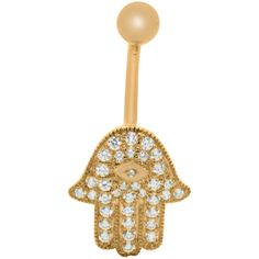 Gioelli 10k Gold Cubic Zirconia Hamsa Belly Ring ($81) ❤ liked on Polyvore featuring jewelry, rings, white, gold cubic zirconia rings, white ring, belly button rings, navel rings and cz rings