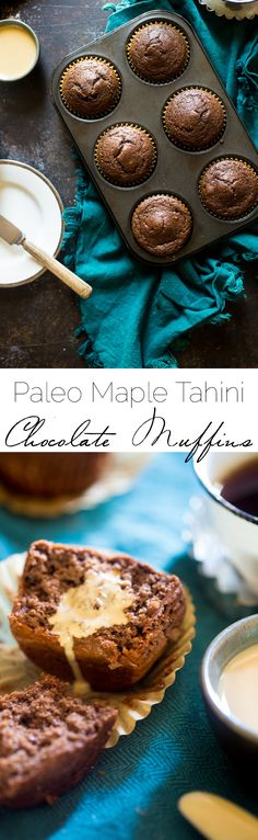 Maple Tahini Chocolate Muffins -- Has egg but is dairy-free. [gluten-free, vegetarian, paleo, grain-free, nut-free]