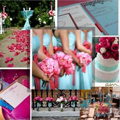 Wedding theme: Shades of pink and Tiffany blue. Similar to the idea of seafoam and coral