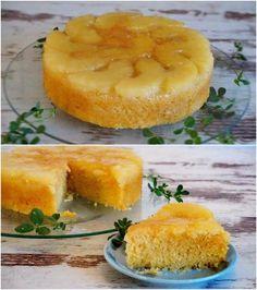 Rica tarta invertida de piña