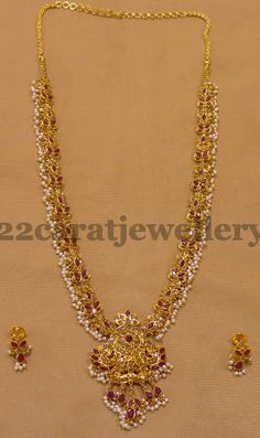 Rubies Highlighted Pearls Long Chain