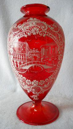 Lovely Old Italian Venetian Glass Vase with Enameling from ...