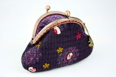 Coin Purse - Sakura Rabbit - Cotton Fabric in Violet with Metal Frame.