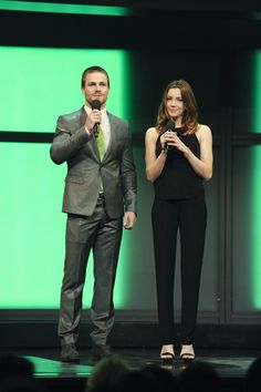 "Stephen Amell and Katie Cassidy (cast of ""ARROW"") at The CW Upfront Presentation at New York City Center on Thursday, May 17, 2012."