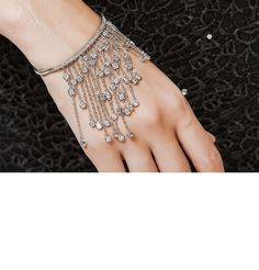 Silver Tassel bracelet,Silver CZ zircon tasssel bangle,Silver plated chain link bracelet /bangle,Wedding jewellery,Unusual rare bangle gift