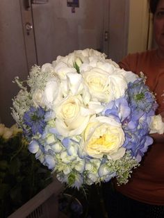Blue and White Wedding Bouquet www.mainstreetcatering.net