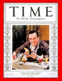Walt Disney on the cover of TIME magazine: December 1937 (age December 1954 (age Disney Time, Disney Magic, Disney Mickey, Disney Art, Disney Movies, Walt Disney World, Disney Pixar, Disney Stuff, Mickey Mouse
