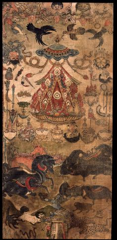 Offerings. Shri Devi (Buddhist Protector) - Magzor Gyalmo (Himalayan Art) Tibet, 1800-1899. Ground mineral pigments on cotton.